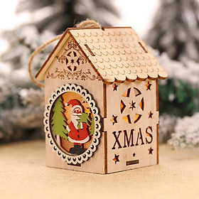Siaonvr LED Light Wood House Cute Christmas Tree Hanging Ornaments Holiday Decoration