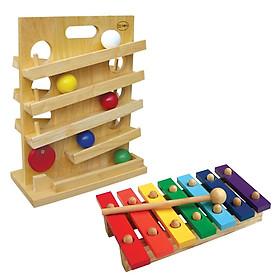 Trò chơi lăn banh + Đàn mộc cầm gỗ 7 thanh (Combo 2 món đồ chơi gỗ phát triển trí tuệ StarKid)