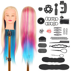 19.5'' Mannequin Head with Table Clamp Stand Hairdressing Tools for Braiding Practicing Styling Training Manikin Head