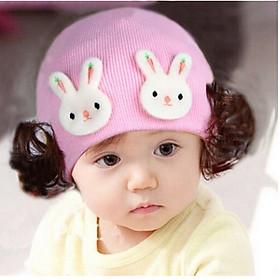 Mũ len tóc giả cho bé gái