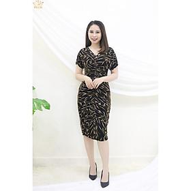 Đầm Thiết kế Đầm xòe Đầm thời trang công sở Đầm trung niên thương hiệu TTV405 đen lá vàng đồng - Đầm ôm cổ V nhúng ngực CV