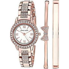 Anne Klein Women's Swarovski Crystal Accented Bracelet Watch and Bangle Set, AK/3334