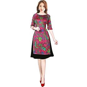 Áo dài nữ kèm chân váy hoạ tiết lạ SP1