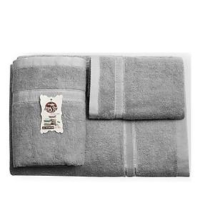 Bộ 3 khăn tắm gia đình cao cấp dệt 100% cotton, khăn tắm, khăn gội, khăn mặt