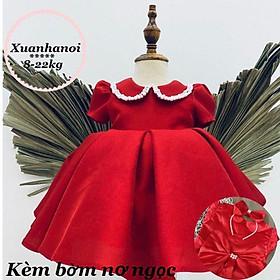 Váy bé gái công chúa đính cườm diện tết kèm bờm nơ XHN476