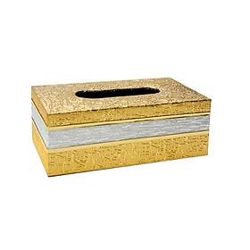Hộp đựng giấy ăn, khăn giấy họa tiết dập nổi màu vàng sang trọng