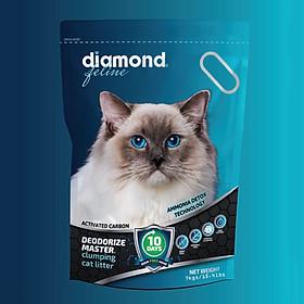 Cát vệ sinh cho mèo Công nghệ carbon siêu vón siêu khử mùi Diamond Feline túi xanh 7kgs/ 15Lbs (HÀNG CÔNG TY CHÍNH HÃNG)