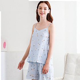 Red Bean Home 2019 Spring and Summer New Women Pajamas Cotton Flower Sling Shorts Home Service Set 328 Blue 165/88A