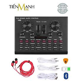 Sound Card Thu Âm Thanh, Livestream, Hát Karaoke Cuvave V8S - Bluetooth Pin Sạc USB Audio Interface Soundcard Auto Tune Hàng Chính Hãng - Kèm Móng Gẩy DreamMaker
