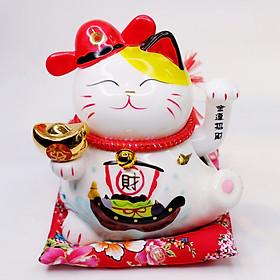 Mèo Thần tài Mũ quan đỏ Vẫy tay 20cm - Thỏi vàng
