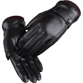 Găng tay da nam cảm ứng chống nước, lót nỉ ấm áp mẫu 2018