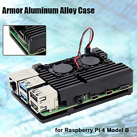 Raspberry Pi 4 Computer Model B Armor Aluminum Alloy Case Protective Shell Metal Enclosure with Dual fan