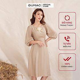 Đầm váy nữ  DA1019 GUMAC thiết kế  tay nhún phụ kiện