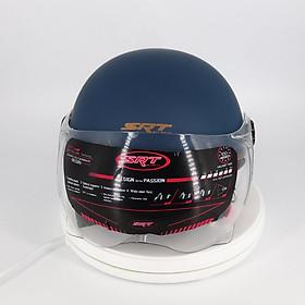 Mũ bảo hiểm 1/2 SRT viền đồng cao cấp có kính chắn gió bảo vệ mắt thời trang + Kính càng - Xanh tím