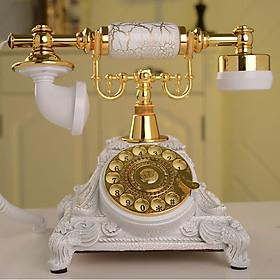 Điện thoại tân cổ điển để bàn mã DT4 màu trắng kết hợp vàng, chuông thanh bàn phím quay, dùng sim di động nghe gọi âm thanh tốt và để trang trí (Điện thoại bàn tân cổ điển)