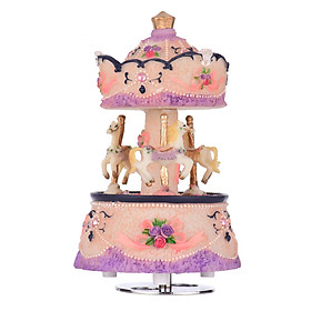 ammoon Music Box Carousel Horse Unicorn Color Change LED Light Luminous Rotating Best Gift Melody-Castle in The Sky
