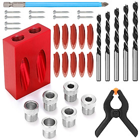34 Pcs/Set 15° Woodworking Inclined Hole Locator Drilling Guide Hole Opener Combination Tool Set Woodworking Drilling
