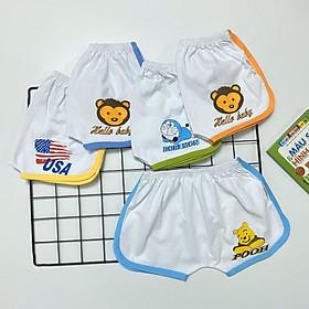 Combo 5 quần đùi cotton trắng viền màu thể thao cho bé trai, bé gái SS-TomTom001