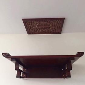 Bàn thờ treo gỗ sồi phun màu nâu gụ (tặng tấm chống ám khói) -BH75
