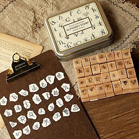 Bộ 28 con dấu gỗ Chữ cái Alphabet cách điệu