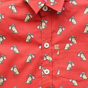 Áo Sơ Mi Bé Trai Đỏ In Chó Đốm CucKeo Kids T71804 - Đỏ-2