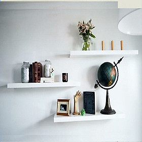 Bộ 3 chiếc kệ thanh ngang treo tường gỗ lõi xanh chống ẩm hai màu trắng đen (20-40-60 x 15 x 1.5cm)
