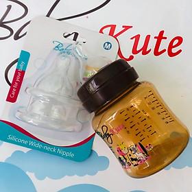 Bình sữa bằng nhựa PP an toàn Baby Kute 140ML tặng kèm 2 núm Silicone cổ rộng  siêu mềm