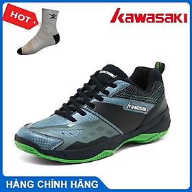Giày cầu lông Kawasaki K359 mẫu mới, hàng chính hãng, màu đen viền xanh - Tặng kèm tất thể thao Bendu cao cấp