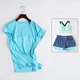 set quần áo thể thao tập gym yoga nữ ngẵn ( áo thun + quần đùi + áo bra nữ ) skn01