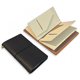 Sổ tay đẹp bìa da thật khắc tên - Sổ tay cho lữ khách - Leather Traveler Notebook Refillable - Jupiter 1R - Size 11x19,5cm