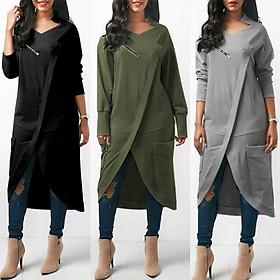 ZANZEA 2018 Winter Fashion Women Crew Neck Long Sleeve Midi Vestidos Leisure Solid Baggy Irregular Splits Work OL Dress Kaftan Army Green