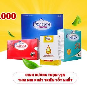 Bộ sản phẩm cho bà bầu Sắt, Canxi, DHA, Vitamin Avisure gồm: Avisure Safoli 60 viên+Avisure Hical 60 viên+Avisure DHA 40 viên+Avisure mama 60 viên