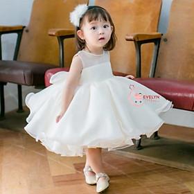 Đầm bé gái voan trắng (hồng) cho bé từ 1 đến 12 tuổi