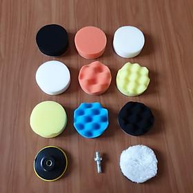 Bộ phụ kiện cho máy đánh bóng xe ô tô mini dùng cho máy khoan pin, khoan điện và máy mài góc 12 chi tiết
