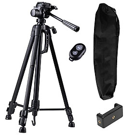 Tripod máy ảnh, điện thoại Weifeng WT-3520, khung nhôm cao cấp tải trọng 3kg, có túi đeo, tặng kèm kẹp điện thoại