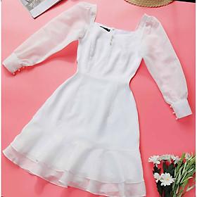 Đầm trắng dự tiệc CAO CẤP SANG TRỌNG may 2 lớp, lớp lót mềm mịn thoáng mát