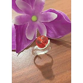 Nhẫn nữ đá phong thủy màu cam mệnh hỏa - mệnh thổ Trang Sức Bạc QTJ - nu241(bạc)