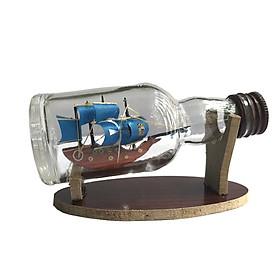 Mô hình thuyền gỗ trong chai thủy tinh nhỏ N4