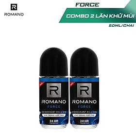 Combo 2 Lăn khử mùi Romano kháng khuẩn & khô thoáng cả ngày 50mlx2 Force