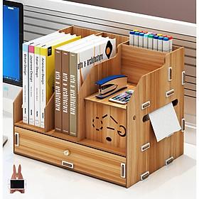 Kệ sách kệ hồ sơ kệ văn phòng kèm hộp viết đa năng bằng gỗ mẫu MỚI thời trang KS2 -Tặng giá để điện thoại(màu ngẫu nhiên) bằng gỗ
