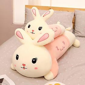 Gấu bông gối ôm thỏ hồng I Love U kích thước 60-90-110cm