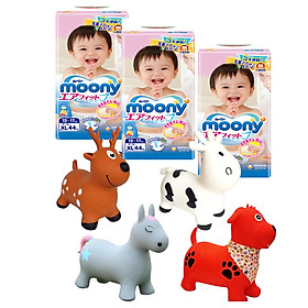 Combo 3 gói tã dán Moony cao cấp size NB90/S84/M64/L54/XL44 tặng thú nhún Toys House