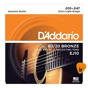 D'Addario EJ10 - Bộ Dây Đàn Acoustic Guitar Cỡ 10 (.010-.047) - Chính Hãng (80/20 Bronze Strings) - Kèm Móng Gảy DreamMaker