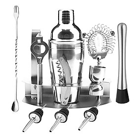 12 PCS Cocktail Shaker Set with Stand 25.4oz Stainless Steel Cocktail Mixology Kit with Bartender Shaker Strainer Jigger