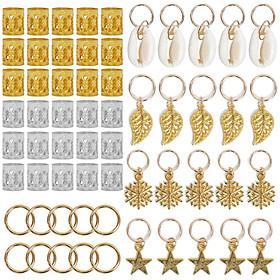 80PCS/Set Dreadlocks Beads Metal Cuffs Hair Braid Rings Pendants Braiding Clips Hair Decorations DIY Braids Accessories