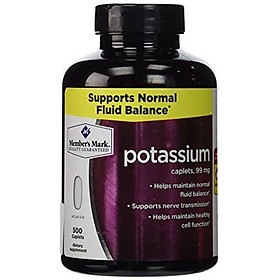 Member's Mark Formerly Simply Right Potassium Caplets - 500ct [99mg Potassium]