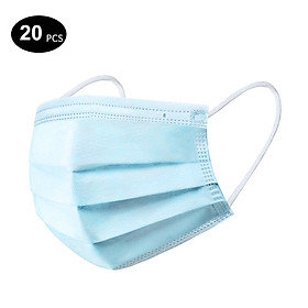 ZHIYI 20PCS Disposable Mask 3-Layer Non-Woven Masks Breathable Comfortable Mask Anti-dust Mouth Face Mask, Blue