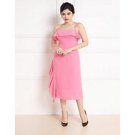 Đầm  hai dây hồng quyến rũ
