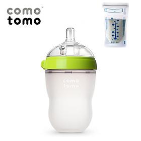 Bình Sữa Silicon Comotomo 250ml Màu Xanh - Tách Lẻ Không Hộp- Tặng kèm 1 túi trữ sữa UNIMOM  210ML