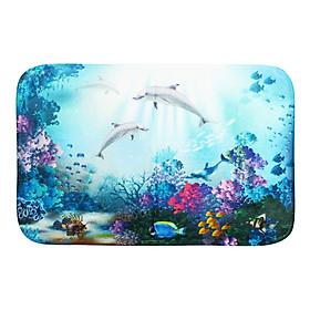 60cm x 40cm Bathroom Mat Underwater World Dolphins Bathroom Waterproof Fabric Mat Hooks